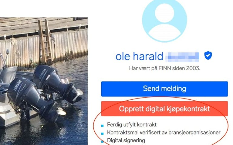 Utsnitt av digital kontrakt for kjøp av båt